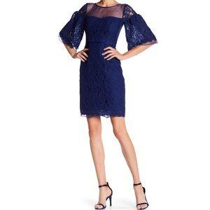Organza Yoke Blue Lace Dress